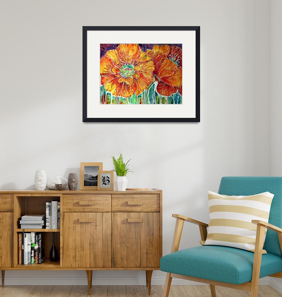 """""""Poppies in Batik on Canvas ~ An original by Marcia""""  (2011) by MBaldwinFineArt2006"""