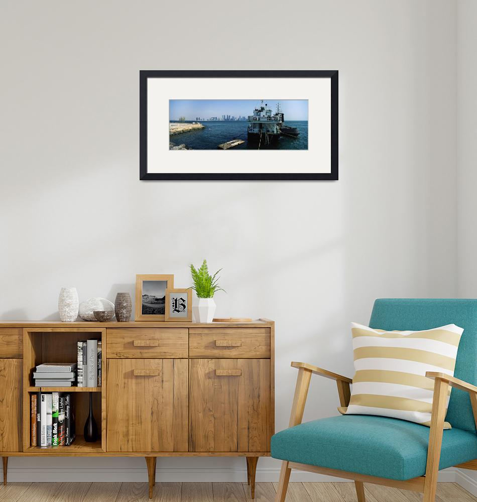 """""""Anchored ship with city skyline in the background""""  by Panoramic_Images"""