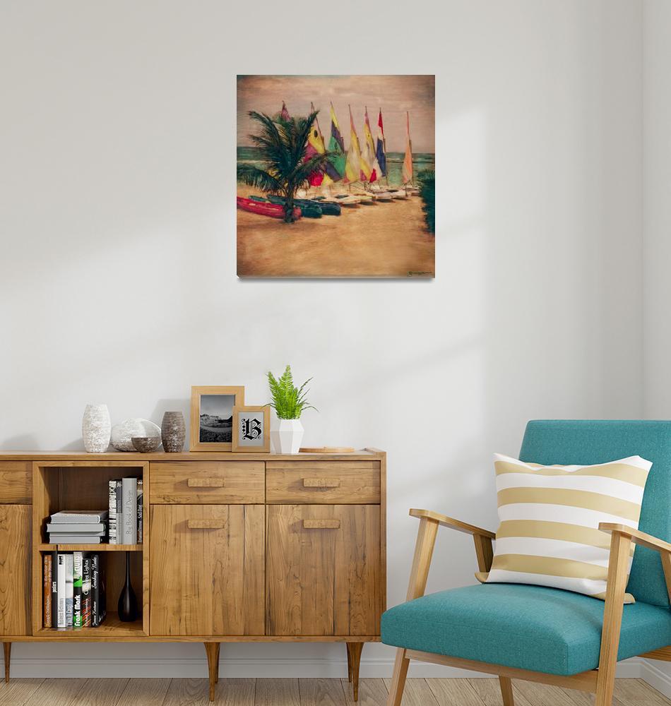 """Sailboat & Palm Tree, Jamaica""  (2004) by joegemignani"