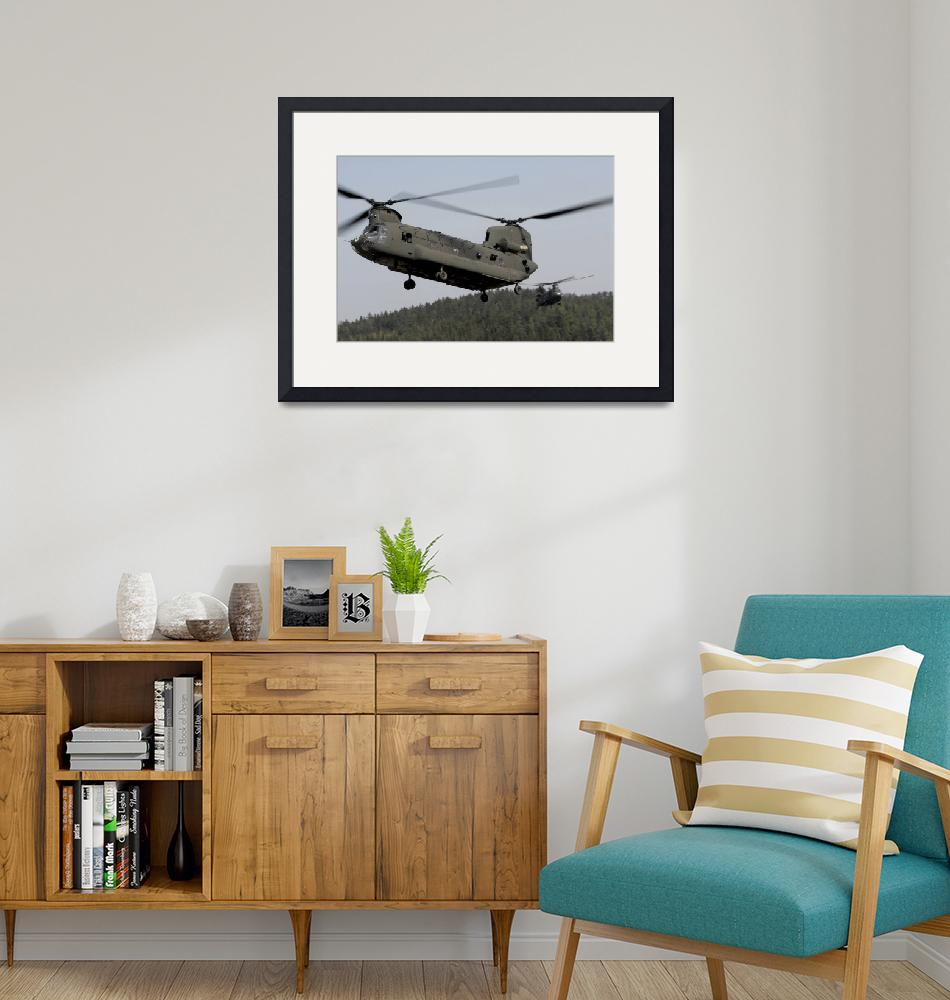 """""""Two CH-47 Chinook helicopters in flight""""  by stocktrekimages"""