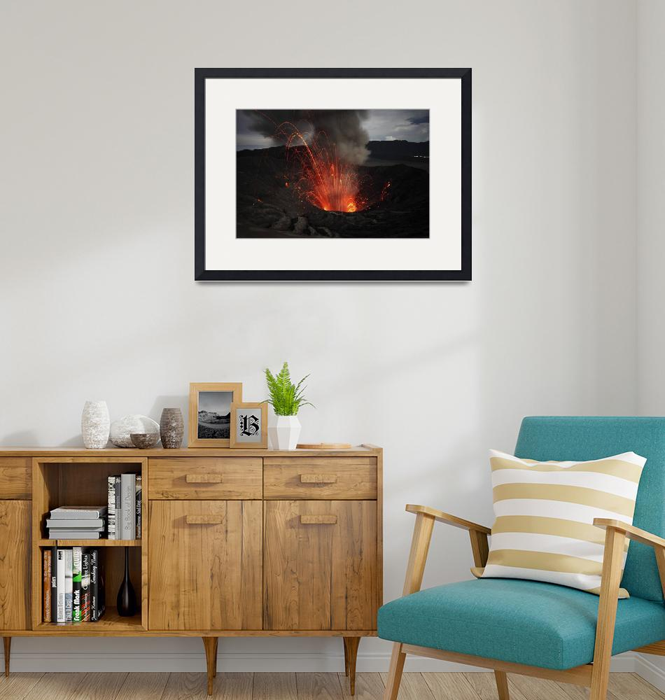 """Strombolian eruption of Mount Bromo volcano, Tengg""  by stocktrekimages"