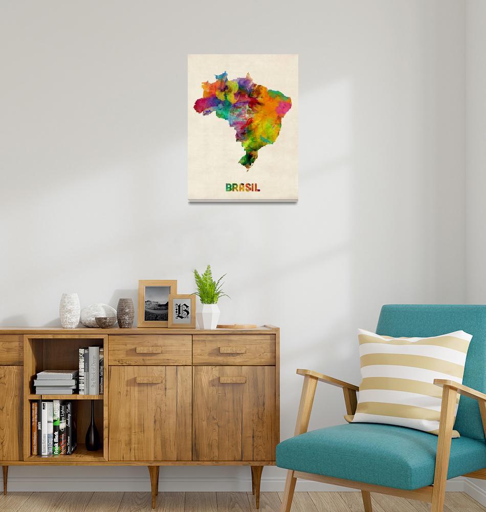 """Brazil Watercolor Map""  (2013) by ModernArtPrints"