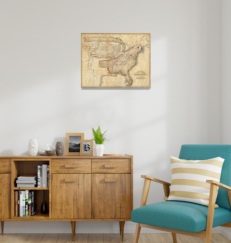 """""""Vintage United States Eagle Map (1833)""""  by Alleycatshirts"""