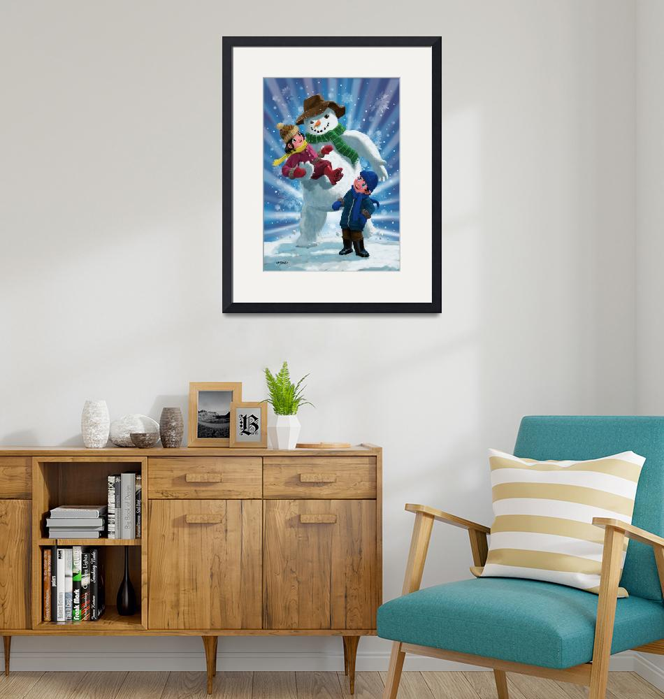 """""""Children and Snowman playing together""""  (2013) by martindavey"""