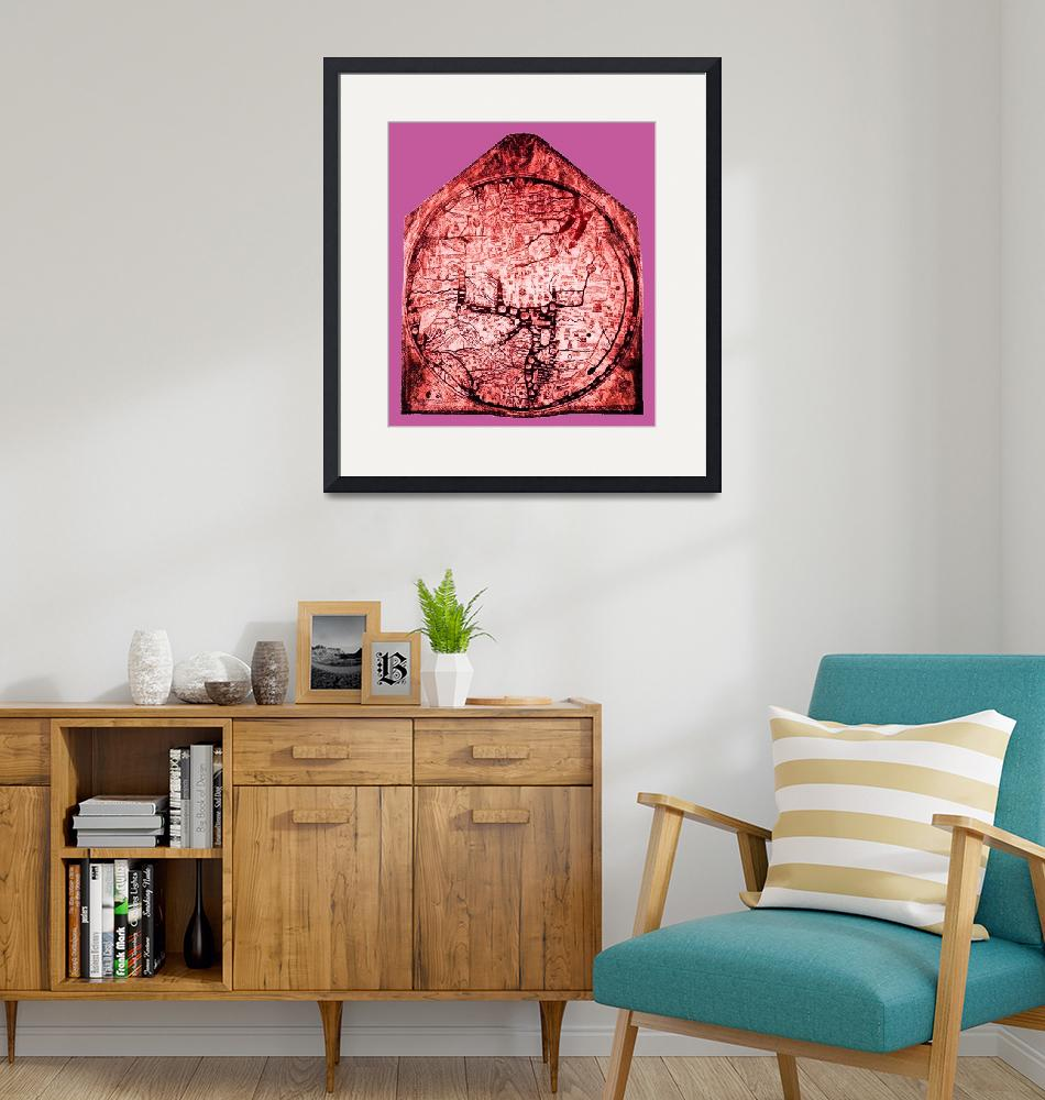 """Hereford Mappa Mundi Red Tint Small Pink Border""  (2014) by TheNorthernTerritory"