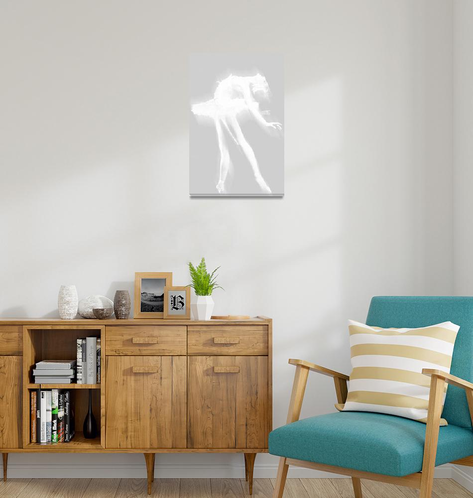 """""""Ballet Dancer Arched White on White""""  (2014) by RubinoFineArt"""