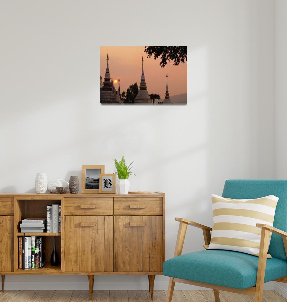 """Thailand, Bangkok, Wat Suan Dok, Misty Pink Sky At""  by DesignPics"