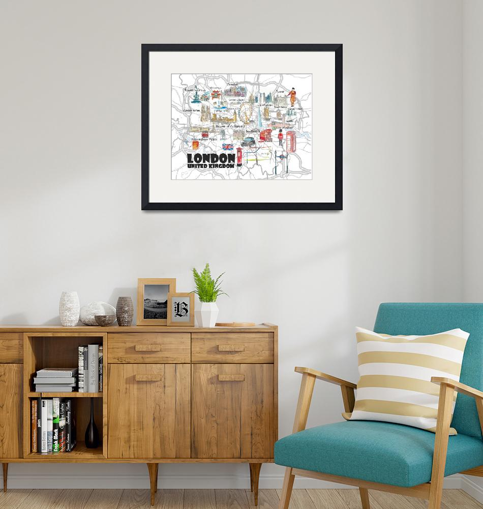 """""""London UK Illustrated Travel Poster Favorite Map T""""  (2019) by arthop77"""