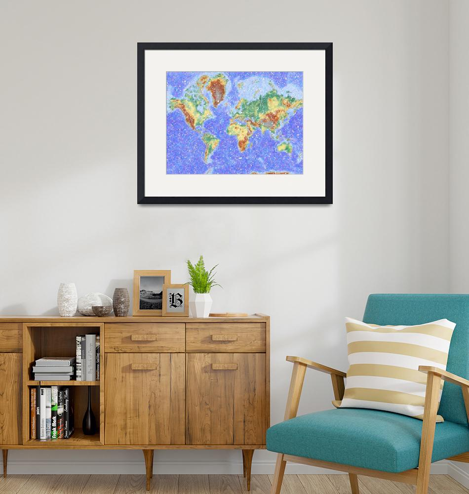"""""""Abstract World Map Aboriginal Dotted Style"""" by motionage"""