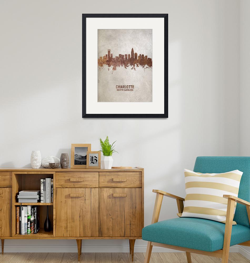 """Charlotte North Carolina Skyline""  (2019) by ModernArtPrints"