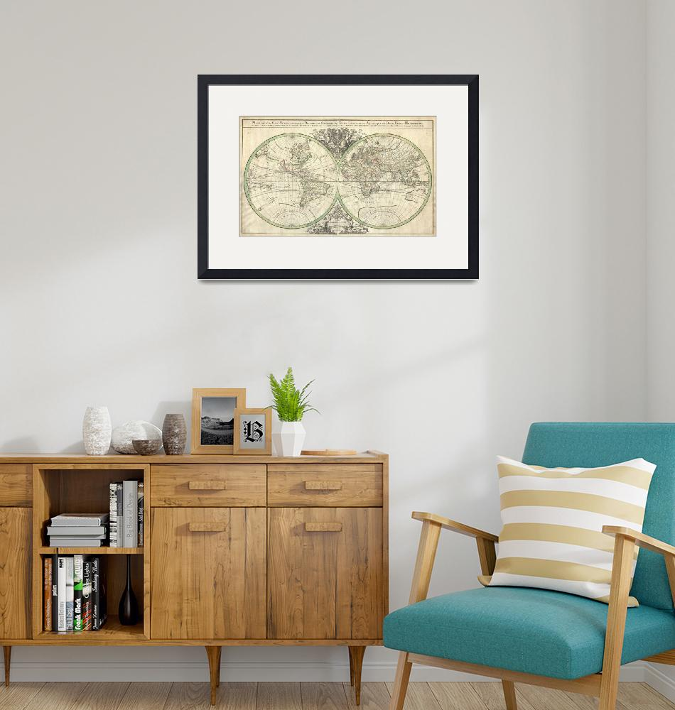 """""""Map of the World Hemisphere Projection 2 by Sanson""""  by FineArtClassics"""