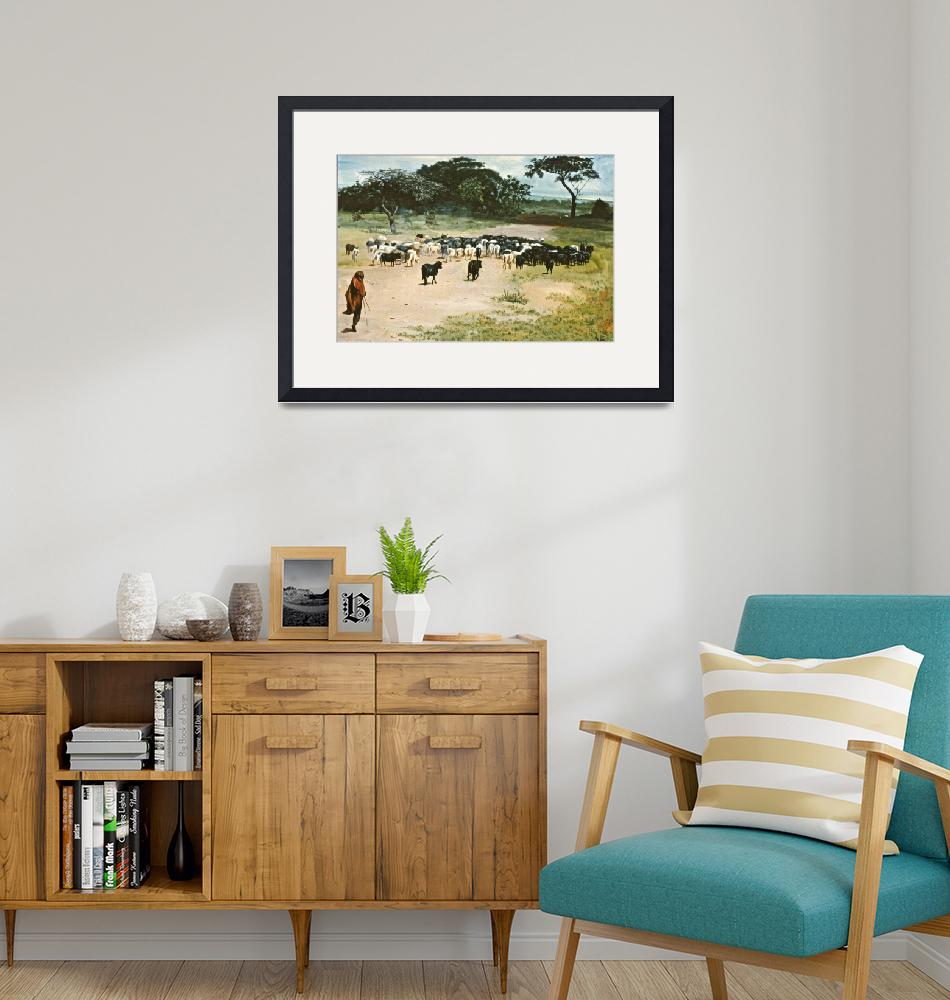 """""""CATTLE DRIVE KENYA AFRICA""""  (2007) by AMFINEARTS"""