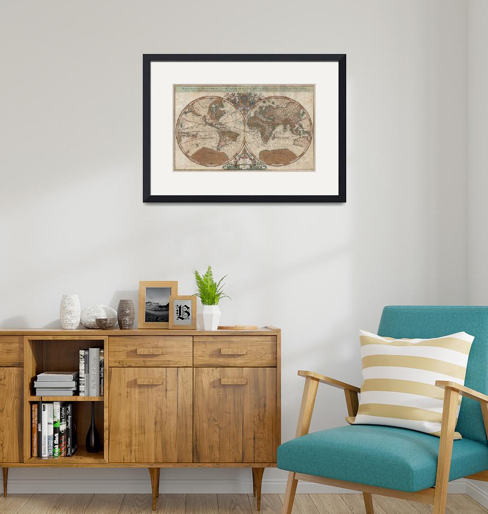 """""""Map of the World Hemisphere Projection by Sanson"""" by FineArtClassics"""