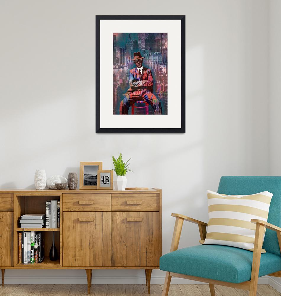 """New York Man Seated City Background 2""  by RubinoFineArt"