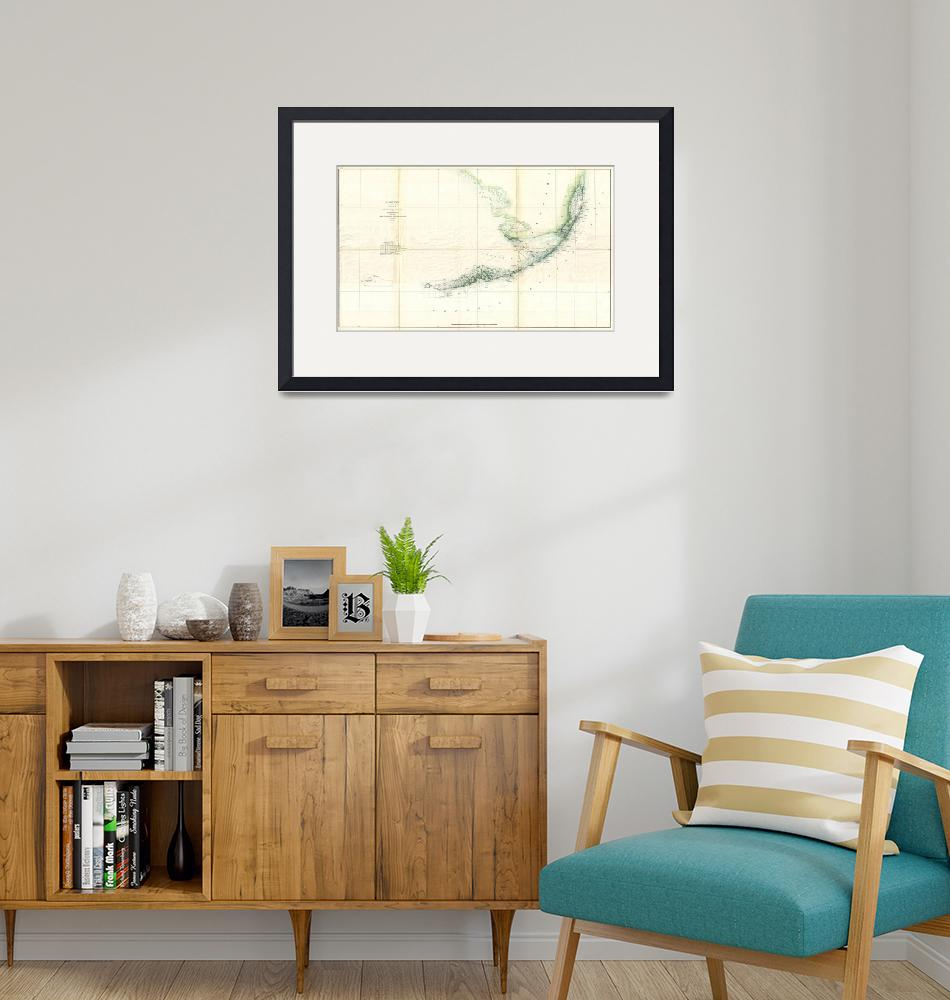 """Vintage Map of The Florida Keys (1859)"" by Alleycatshirts"