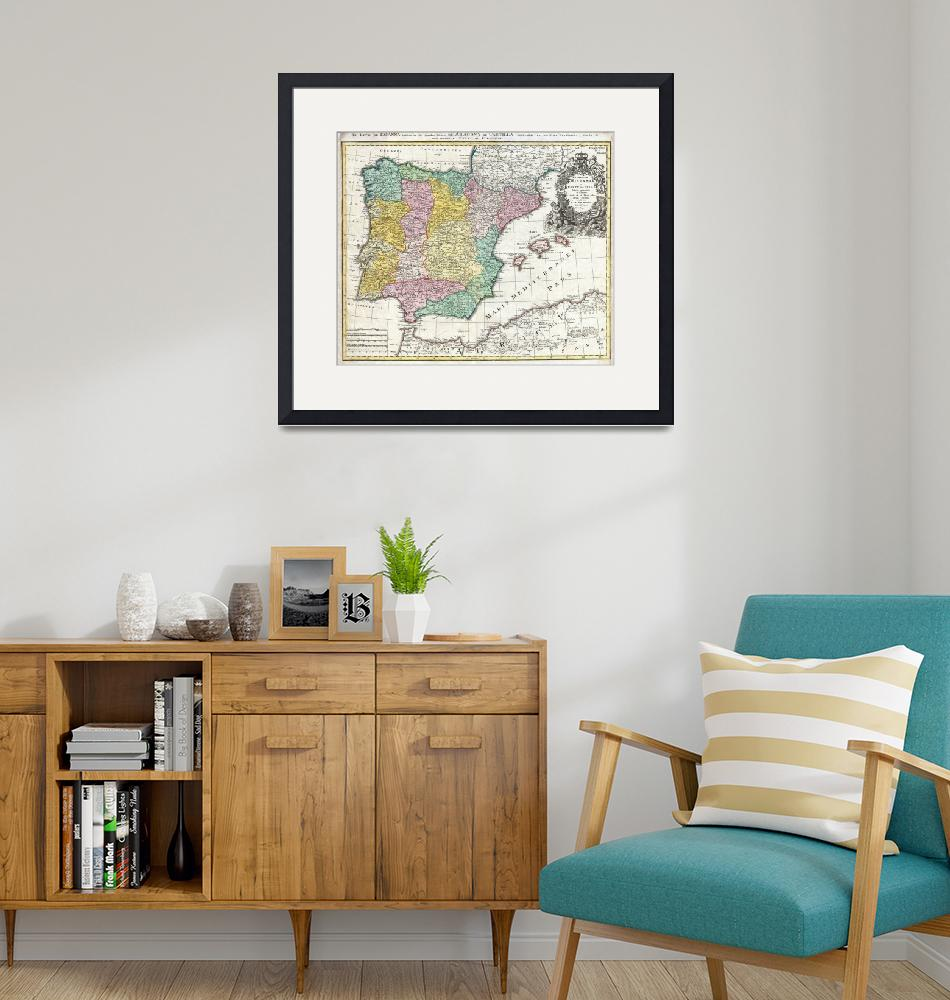 """""""Map of Spain and Portugal by Johann Homann""""  by FineArtClassics"""