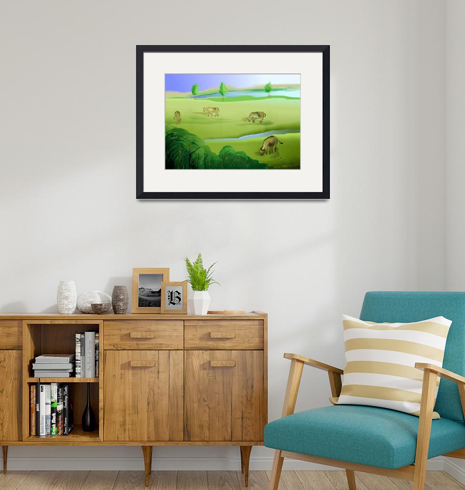 """""""Enjoyment of the cows grazing the pastured lands""""  (2011) by digitalpainting"""