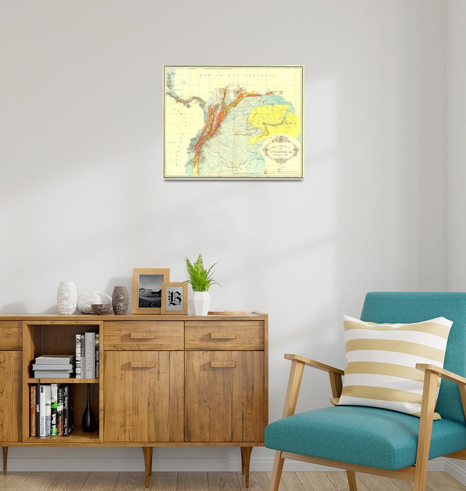 """Vintage Geological Map of Columbia, Venezuela & Ec""  by Alleycatshirts"