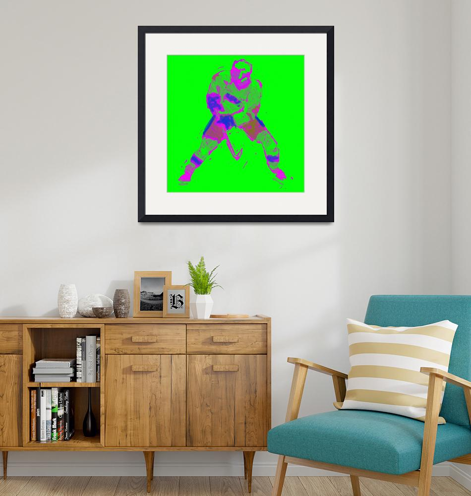 """Hockey Defenseman green purple red (c)""  (2014) by edmarion"