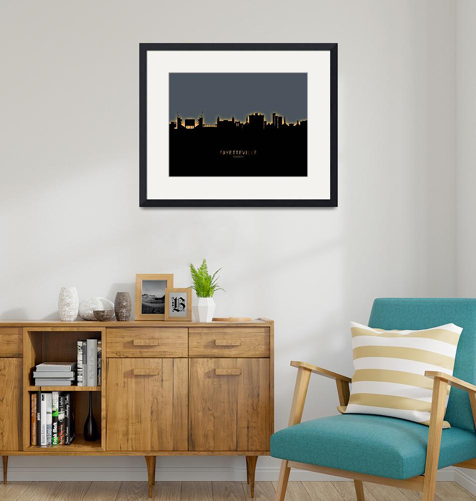 """Fayetteville Arkansas Skyline""  (2019) by ModernArtPrints"