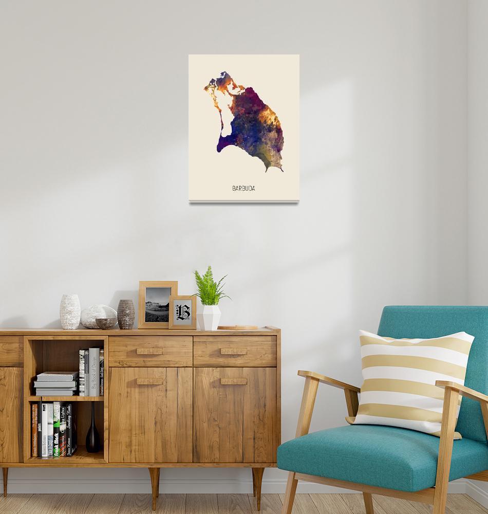 """Barbuda Watercolor Map""  (2019) by ModernArtPrints"