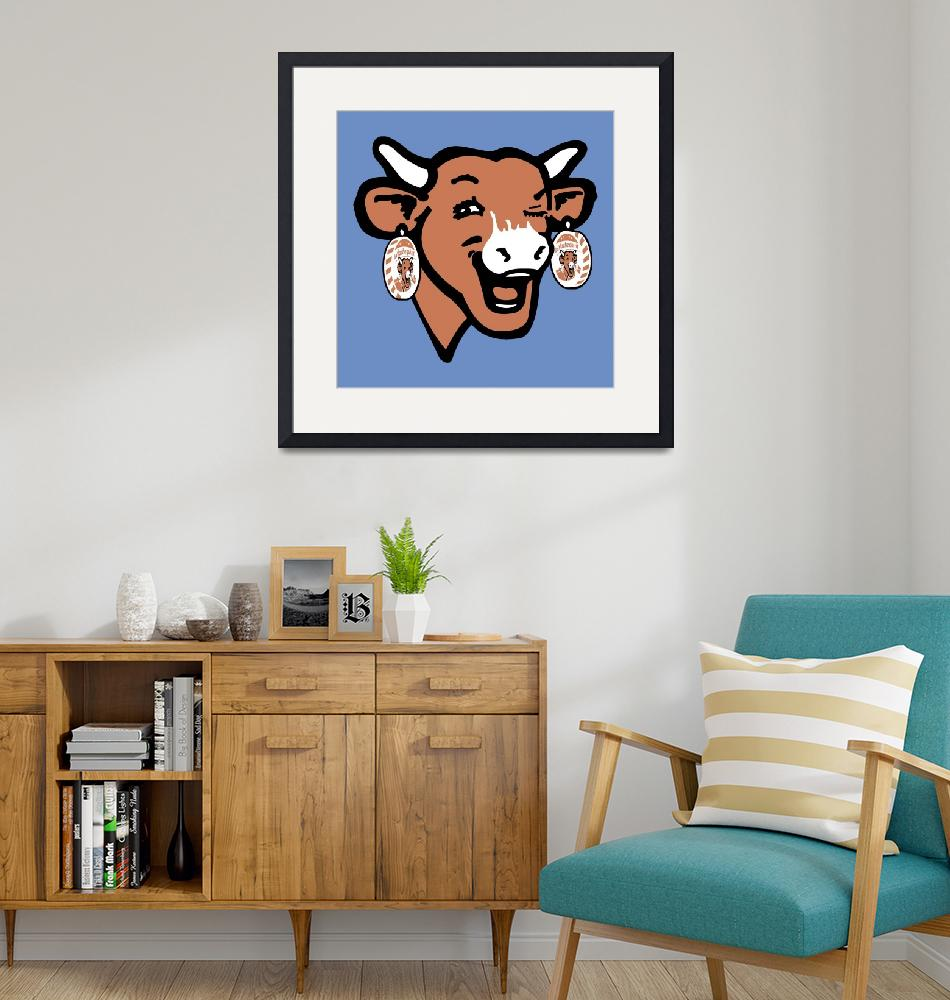 """The Laughing Cow Pop 2 - Brown on Blue""  (2015) by peterpotamus"