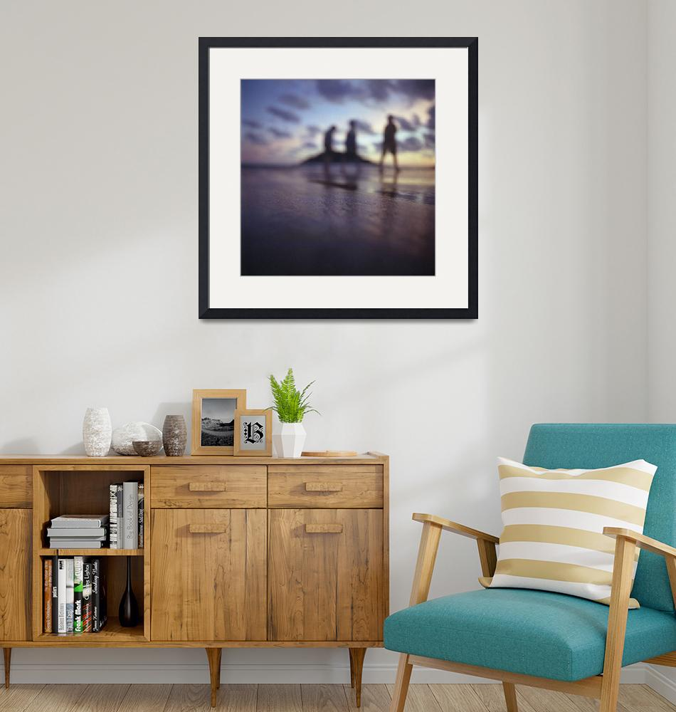 """""""Chillout silhouette of people on beach""""  (2010) by edwardolive"""