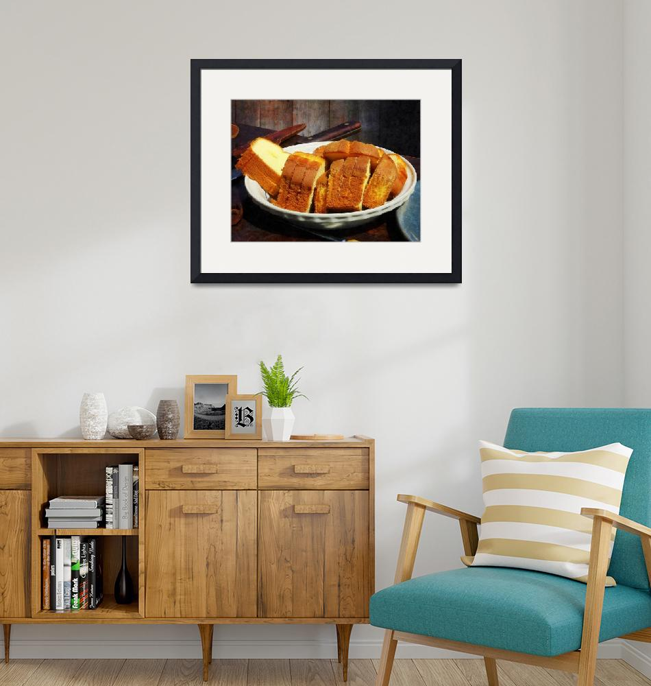 """""""Plate With Sliced Bread and Knives""""  by susansartgallery"""