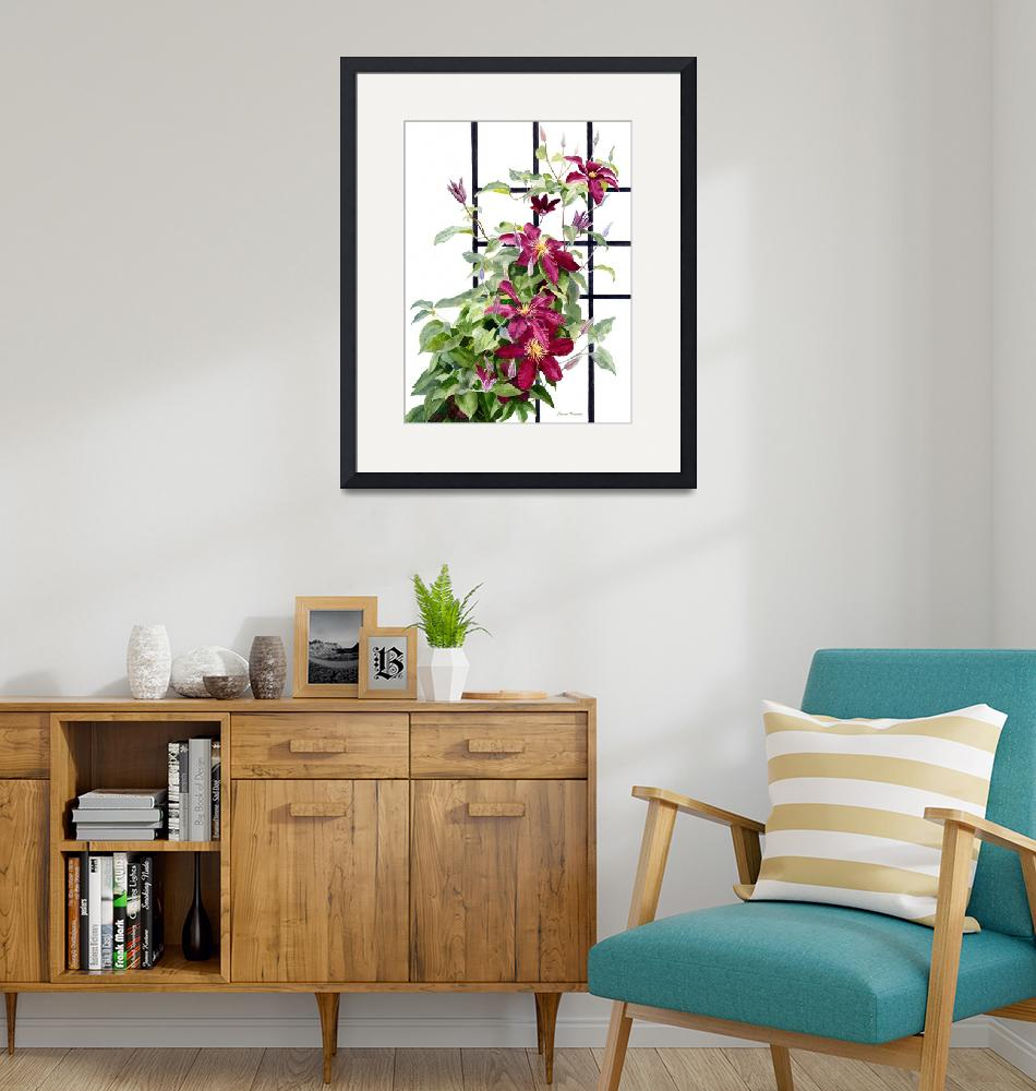 """""""Red Violet Clematis on a Trellis""""  (2017) by Pacific-NW-Watercolors"""