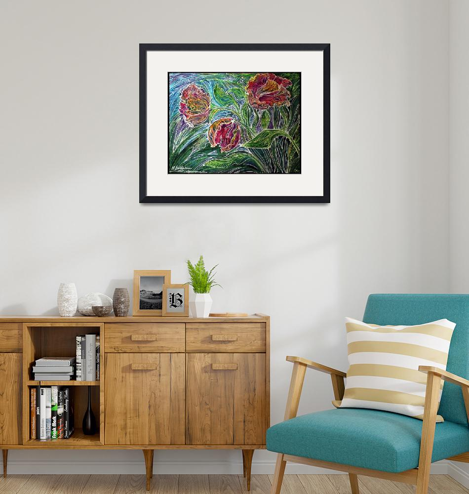 """PARROT TULIPS BATIK ABSTRACT""  (2011) by MBaldwinFineArt2006"