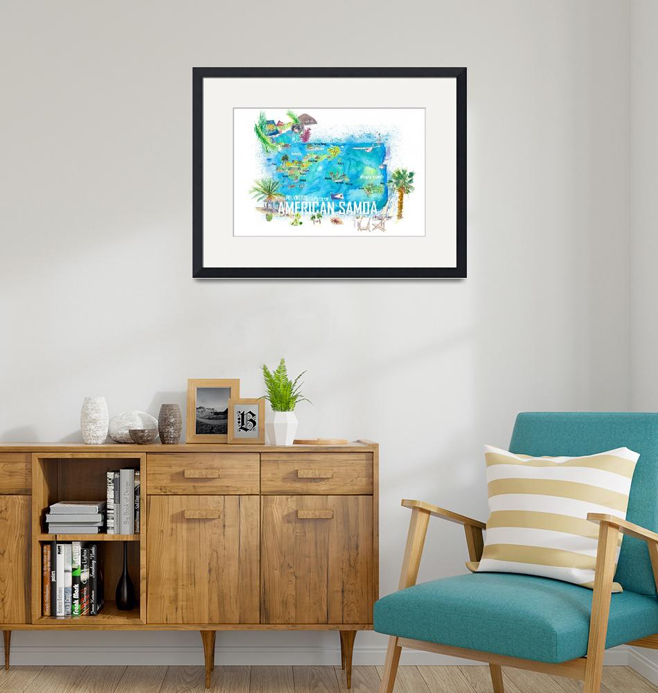 """""""American Samoa Illustrated Island Travel Map with""""  (2021) by arthop77"""