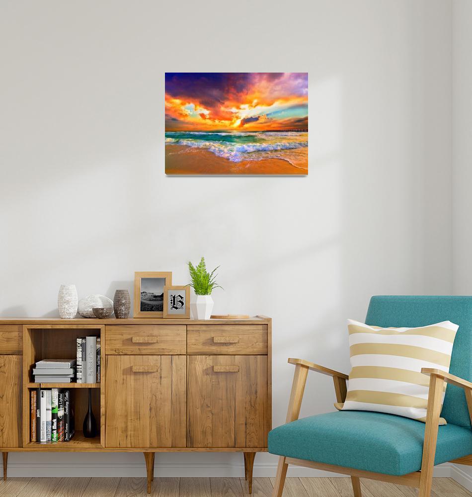 """Red Orange Purple Sunset Green Sea Waves Art Print"" (2013) by eszra"