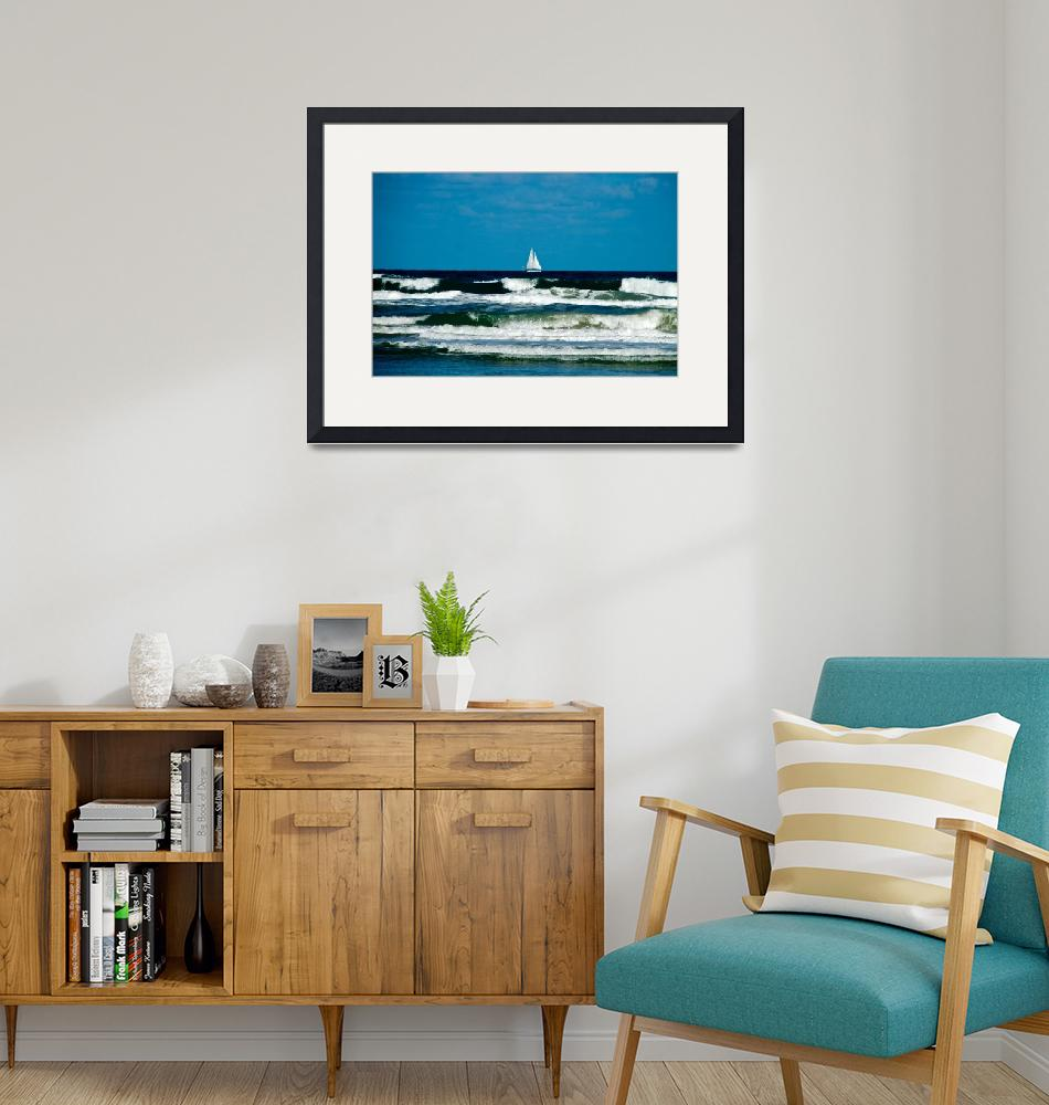 """""""Sail Boat on the Ocean""""  (2015) by ValeriesGallery"""