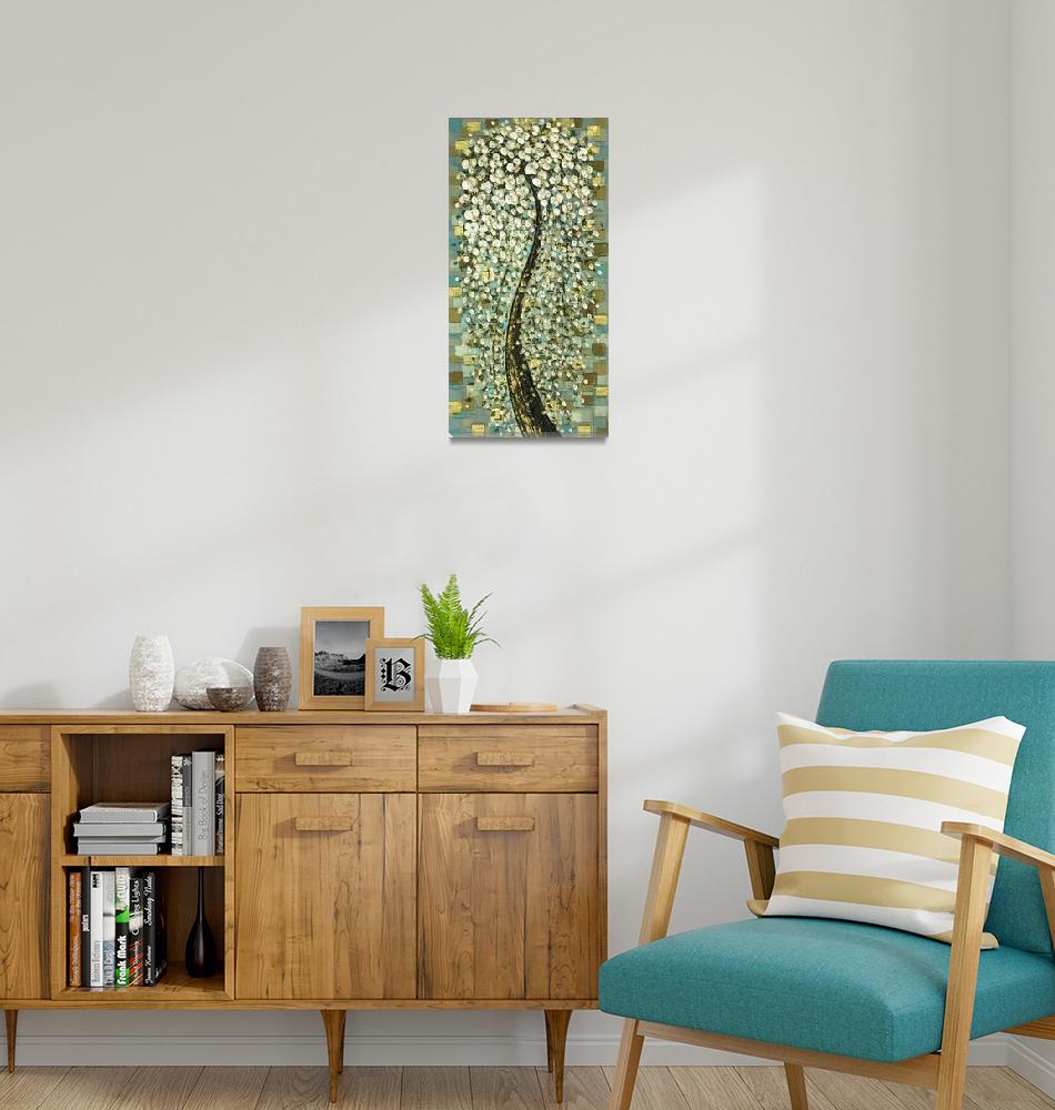 """Weeping White Cherry Blossom Tree - vintage style""  (2009) by modernhouseart"