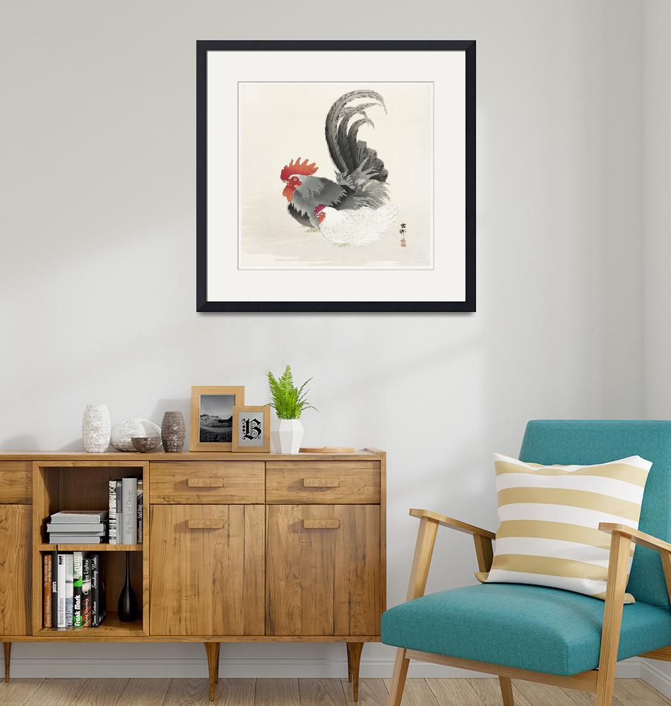 """""""Hen and Rooster by Ohara Koson""""  by FineArtClassics"""