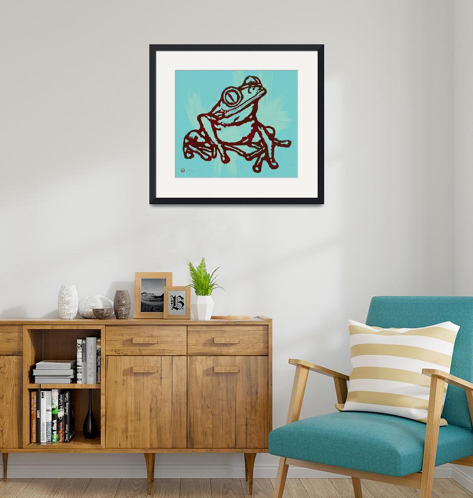 """Rainforest Frog Stylised Pop Art Drawing Portrait""  (2014) by visualharbour"