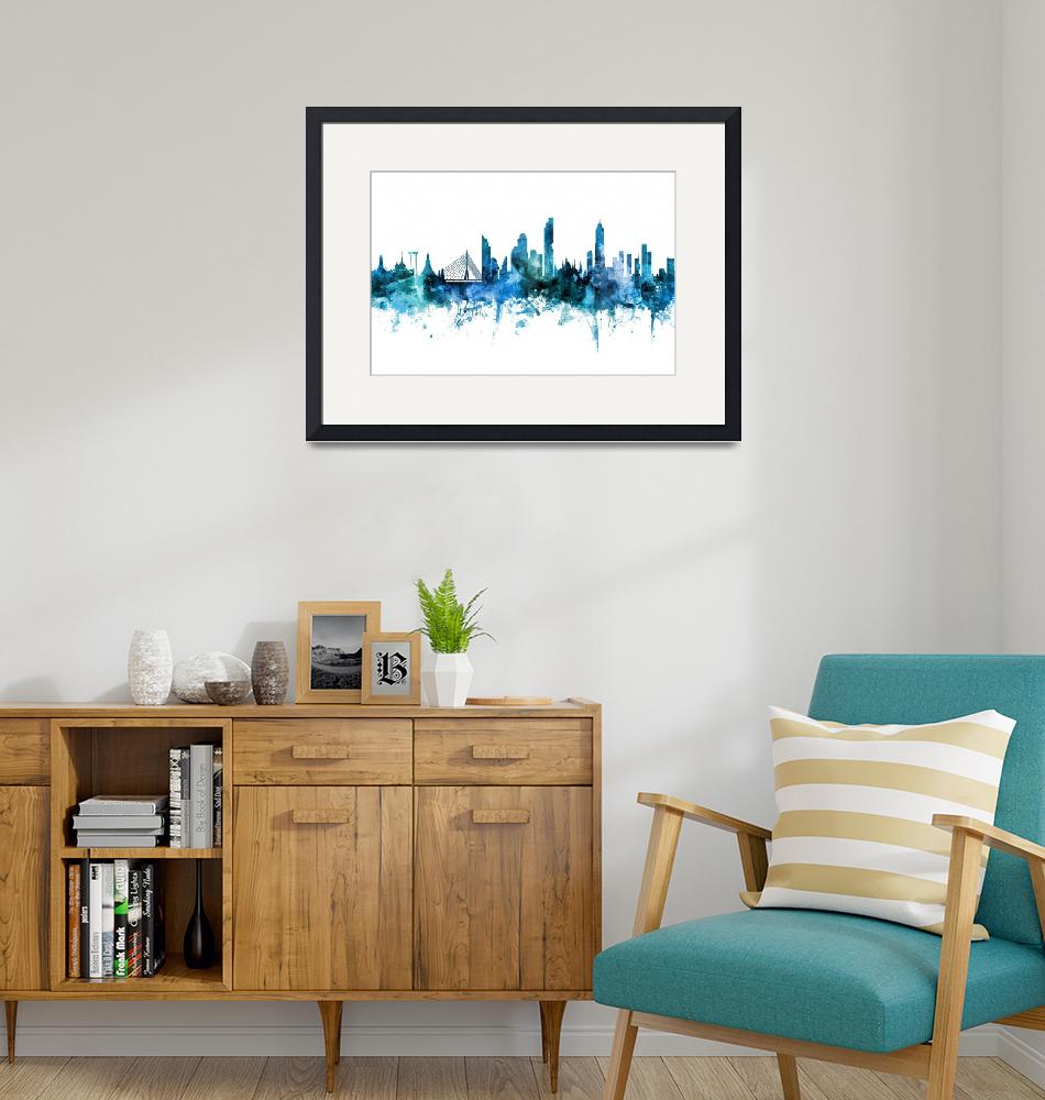 """Bangkok Thailand Skyline""  (2018) by ModernArtPrints"