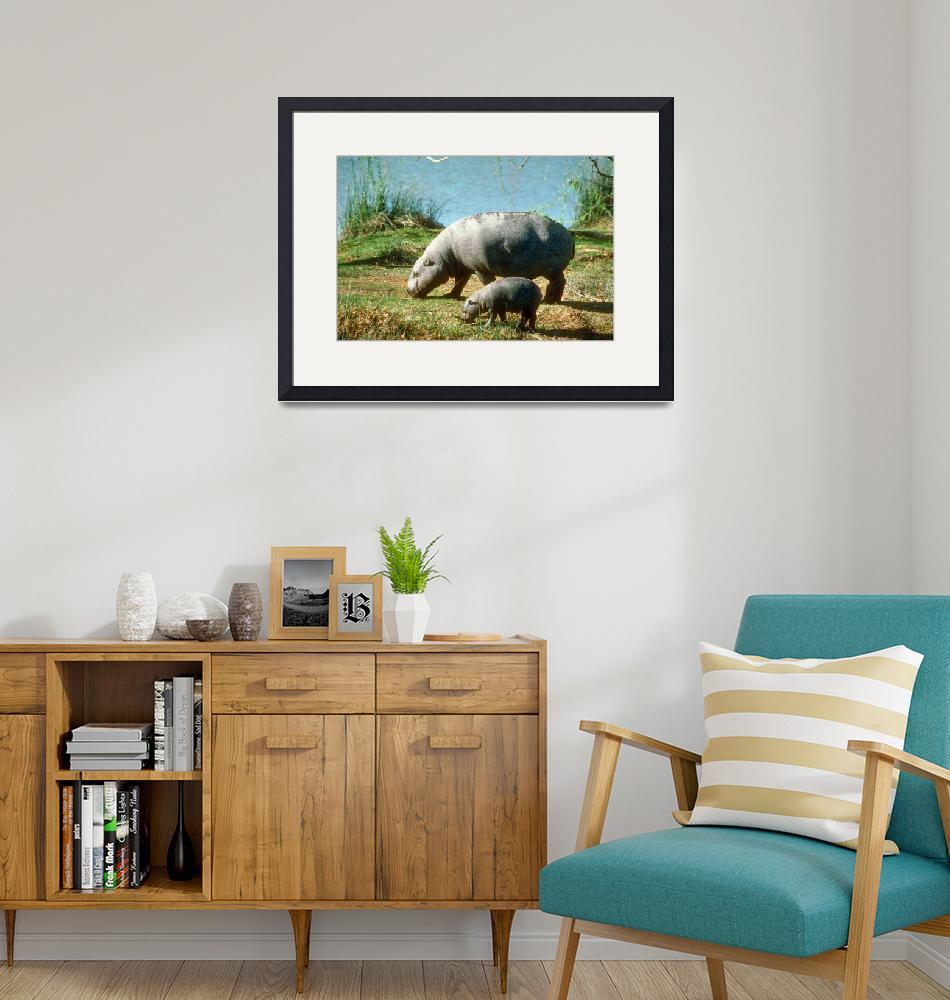 """""""Endangered Pigmy Hippo Cow with Calf""""  by ArtLoversOnline"""