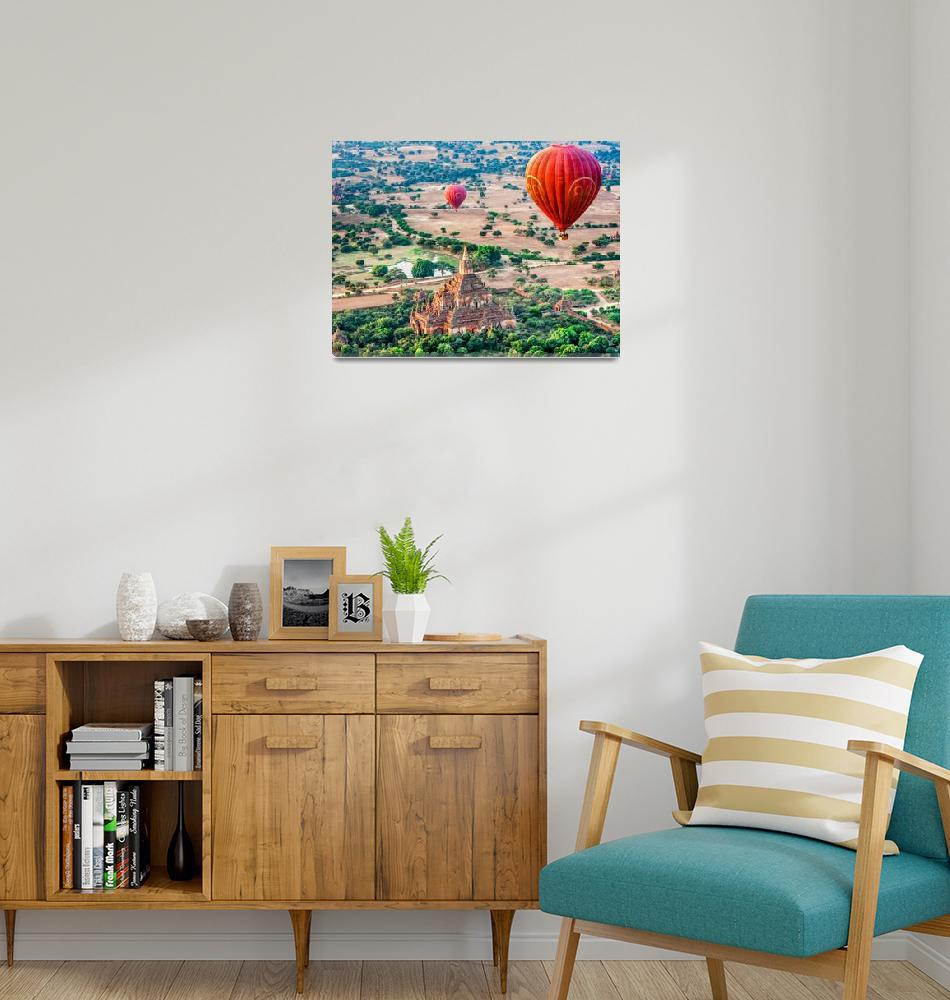 """""""Balloons Over Temples of Bagan""""  (2012) by mjphoto-graphics"""