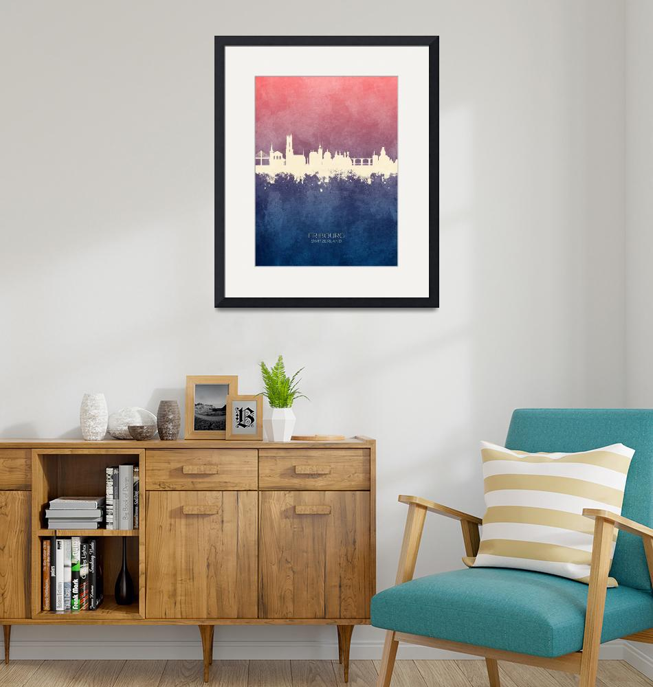 """Fribourg Switzerland Skyline""  (2019) by ModernArtPrints"
