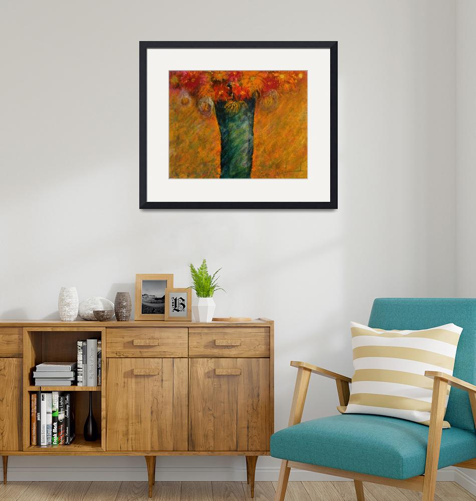 """""""Orange Flowers in Turquoise Vase""""  (2012) by BrillianceUnlimited"""