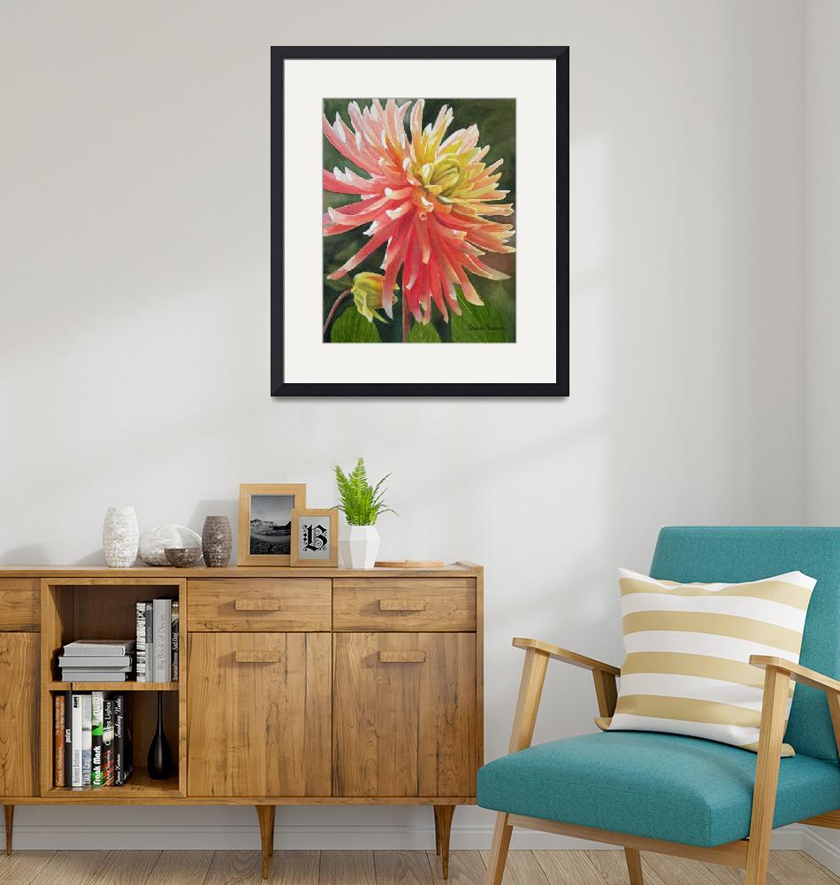 """""""orange and yellow dahlia""""  by Pacific-NW-Watercolors"""