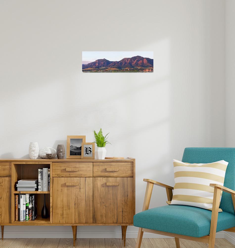 """Boulder Colorado Flatirons 1st Light Panorama"" (2011) by lightningman"
