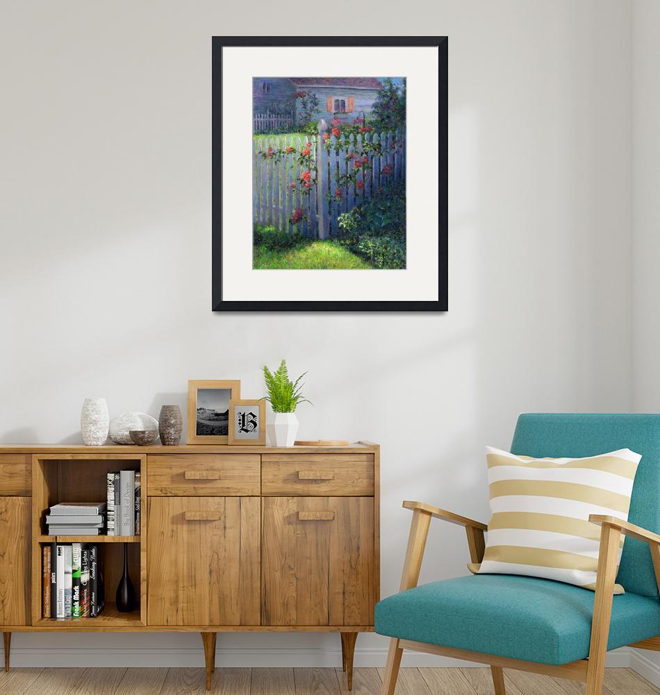 """""""Clematis on a Picket Fence""""  (2001) by susansartgallery"""