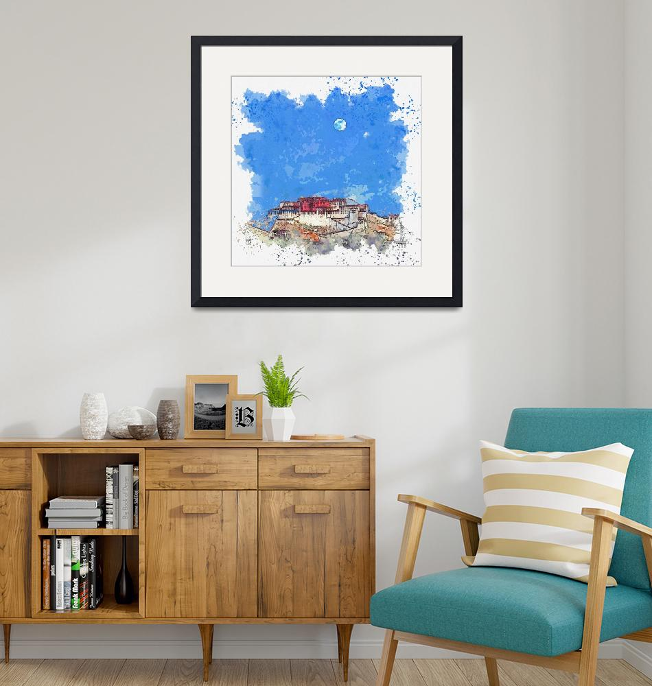 """""""Blue Moon over Lhasa Palace in Tibet -  watercolor""""  by motionage"""