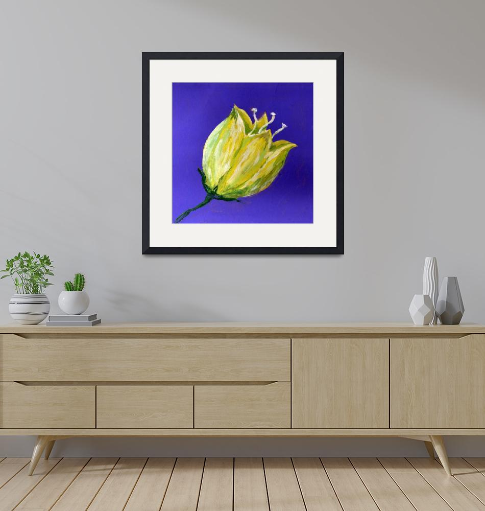 """yellow tulip on purple acrylic painting""  (2017) by dlmtleArt"
