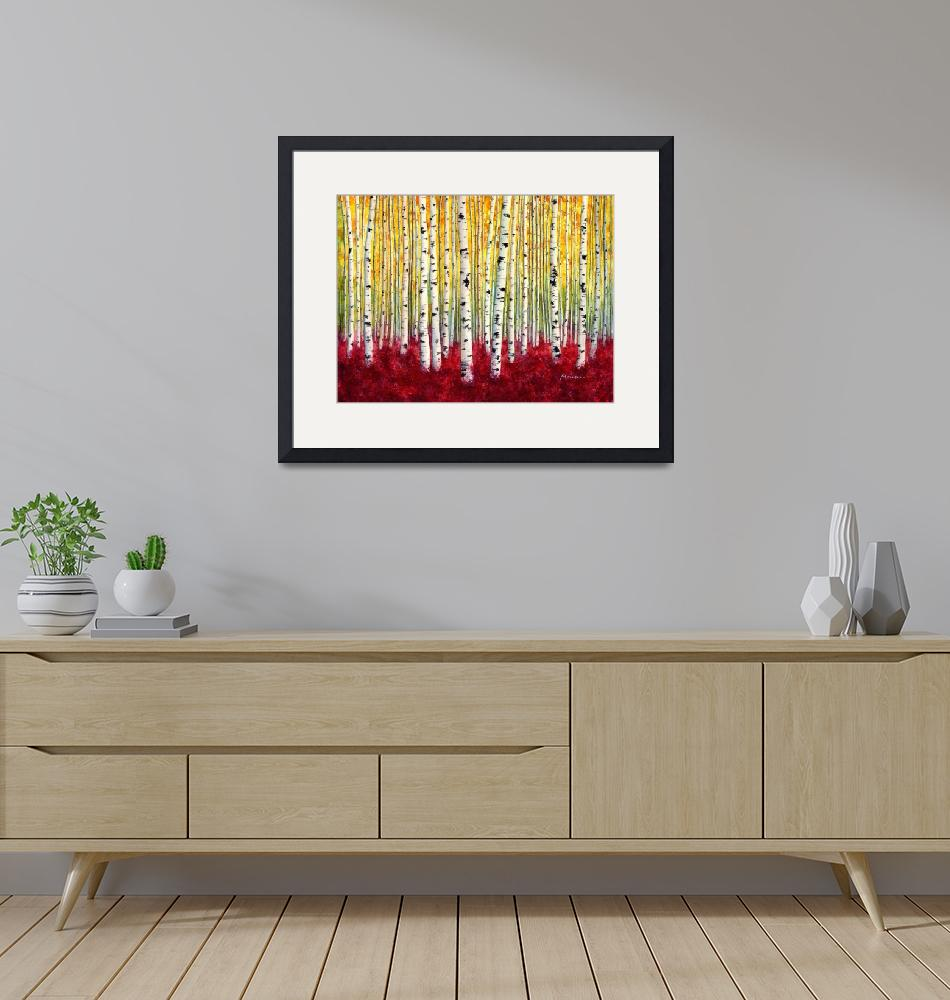 """Silver Birches""  (2015) by HaileyWatermedia"