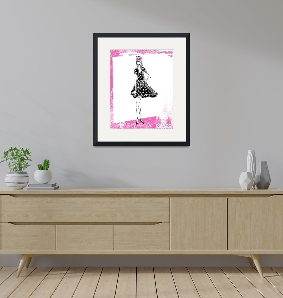 """Illustration...Fashion Girl in Hot Pink 1""  (2011) by chowarddesigns"