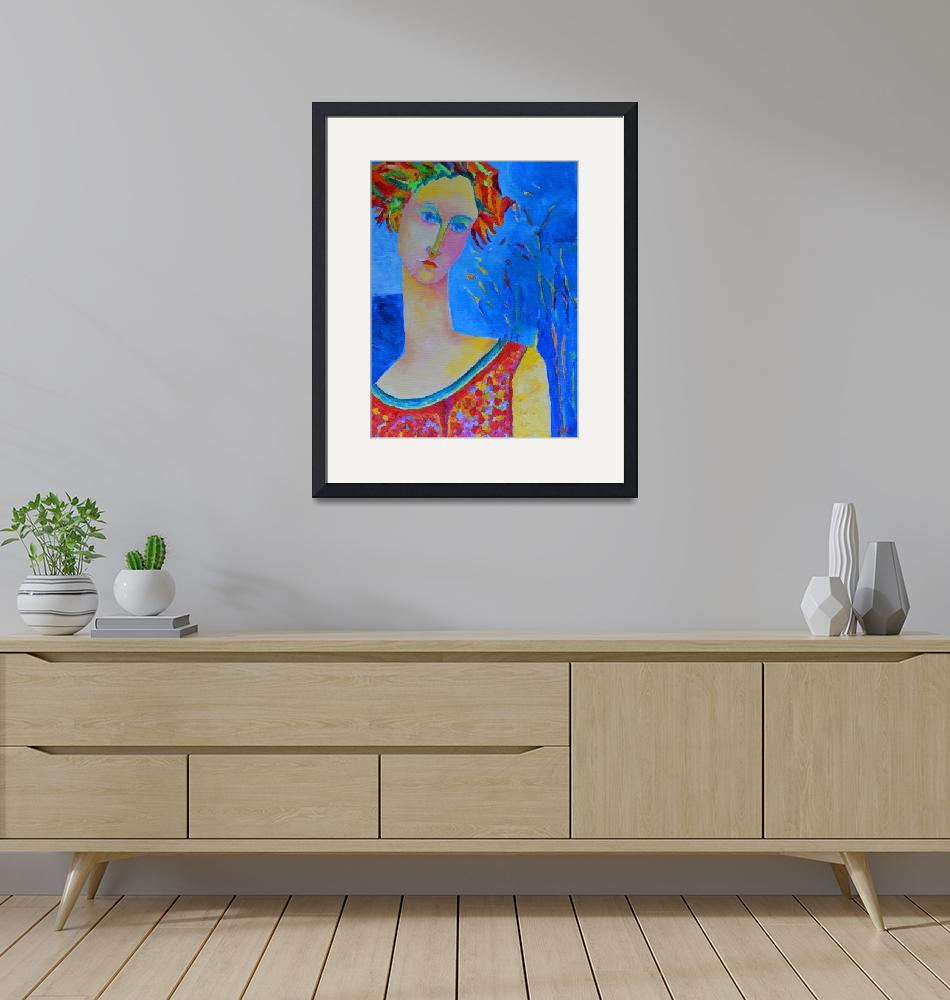 """""""Lady Venus Woman Portrait Painting Blue Red Art""""  (2014) by Maggy"""
