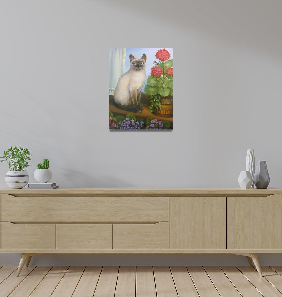"""""""Siamese Cat with Flowers""""  (2010) by vivianeagleson"""